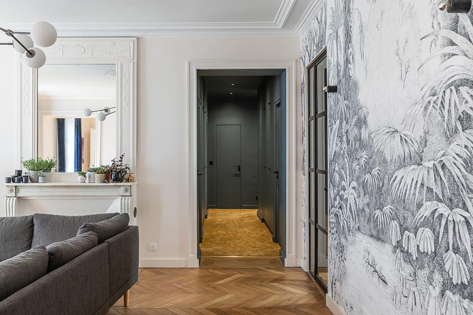 couloir séjour fresue papier peint