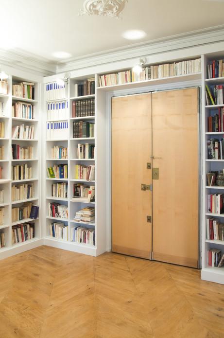 appartement haussmanien bibliothèque