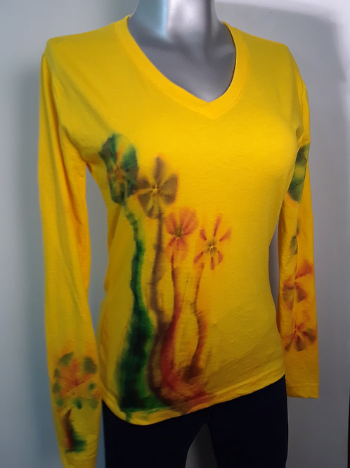 Camiseta manga larga pintada a mano para mujer