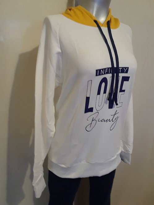 Buzo con capota estampado para mujer (Love Beauty)
