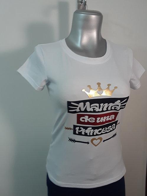 Camiseta manga corta estampada para mujer (Mama de una princesa)
