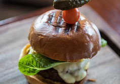 Flames on Forty's gourmet burgers are a burger lover's dream.