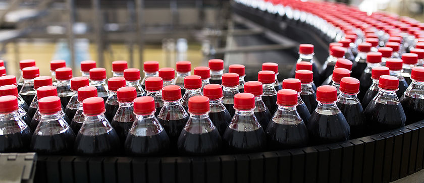 Bottles on factory production line