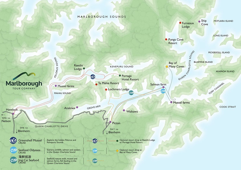 Map of the Marlborough Tour Company Greenshell Mussel Cruise, Marlborough Sounds, New Zealand