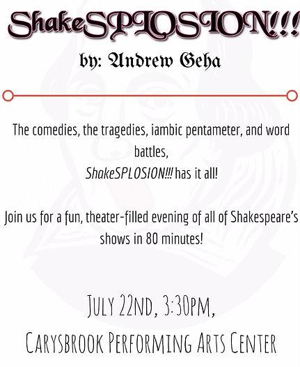 July 22nd, 3-30pm, Carysbrook Performing