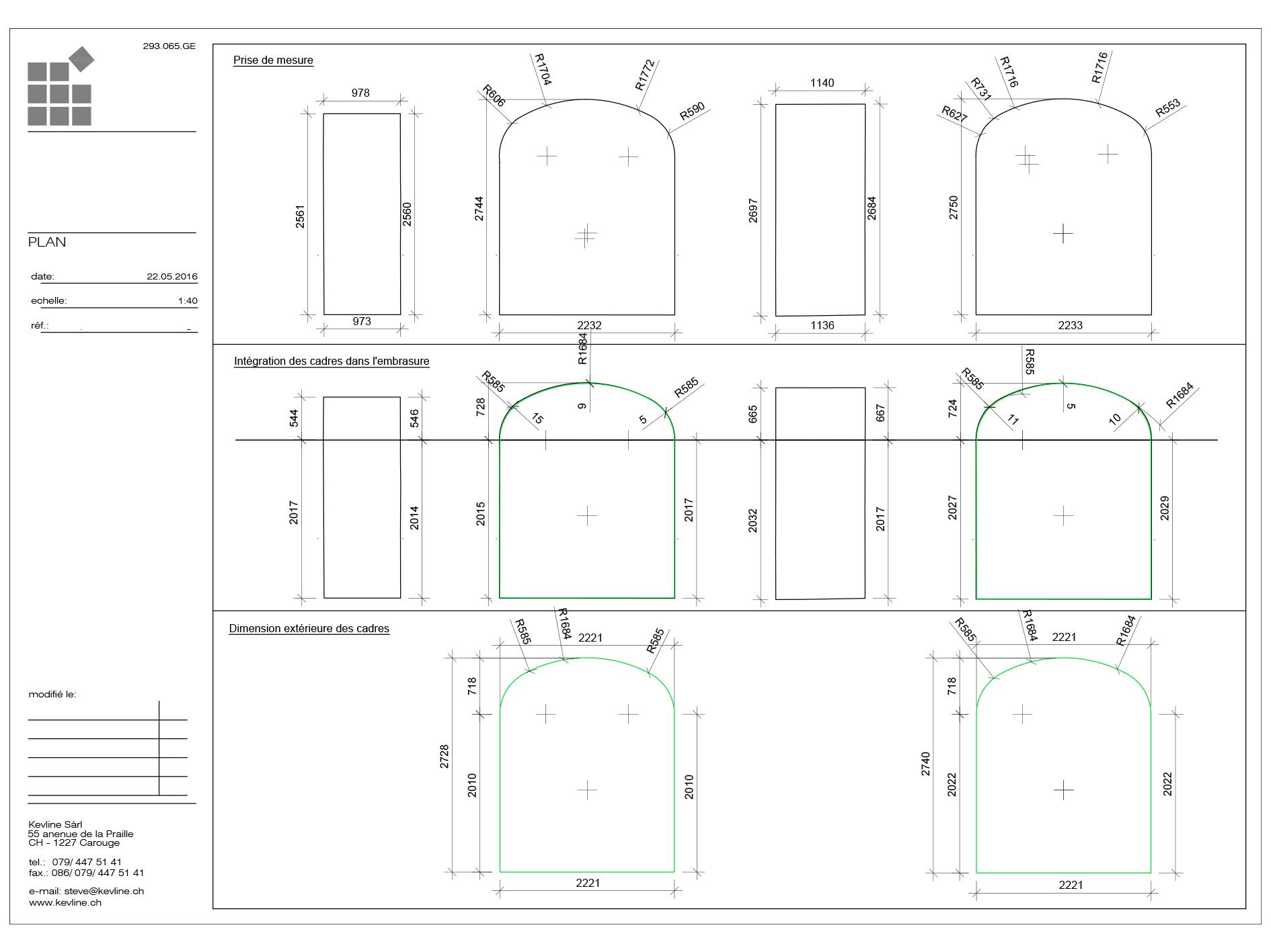 Plan pour un vitrier