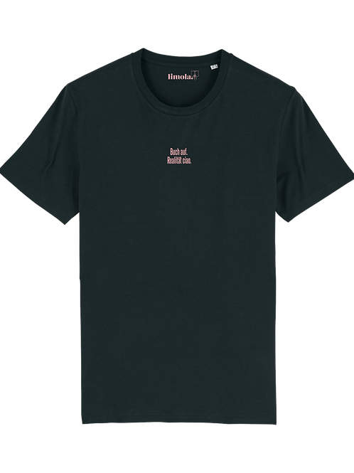 T-Shirt 'Buch auf. Realität ciao'