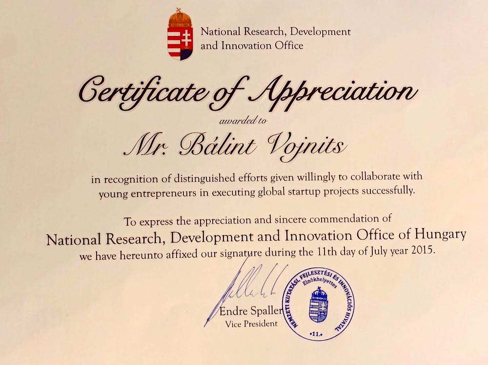 Certificate of Appreciation to Bálint Vojnits