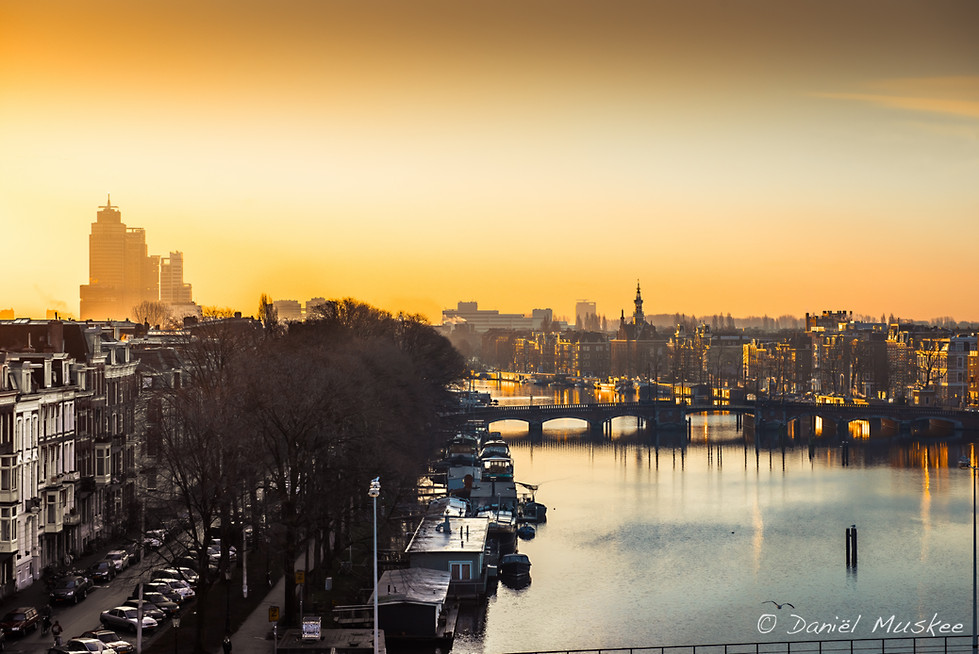 Amsterdam in early light. Photo taken from Rembrandt suite in Amstelhotel.