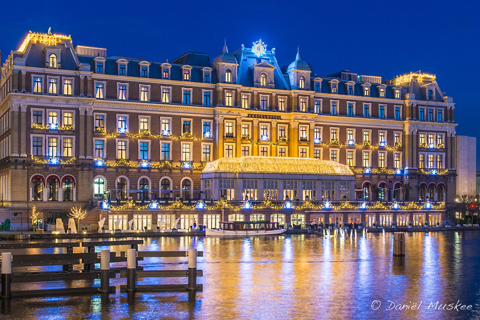 Amstel Hotel during Christmas and in the blue hour