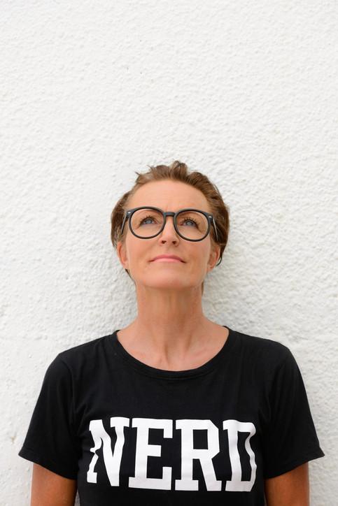 """Woman wearing """"nerd"""" t-shirt"""