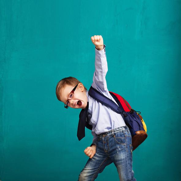 Young nerd cheering