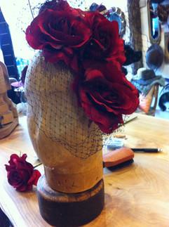 Custom Wedding Fedora with Vintage Flowers and Veil