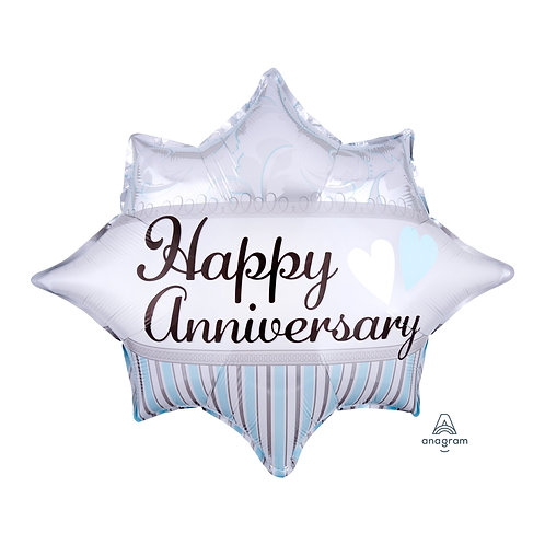 "Standard Foil Balloon ""Happy Anniversary Burst"" 20"" x 17"" Helium Filled"