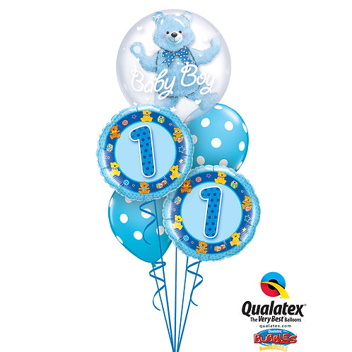 Baby's First Birthday Helium Bouquet with Double Stuffed BUBBLES Balloon