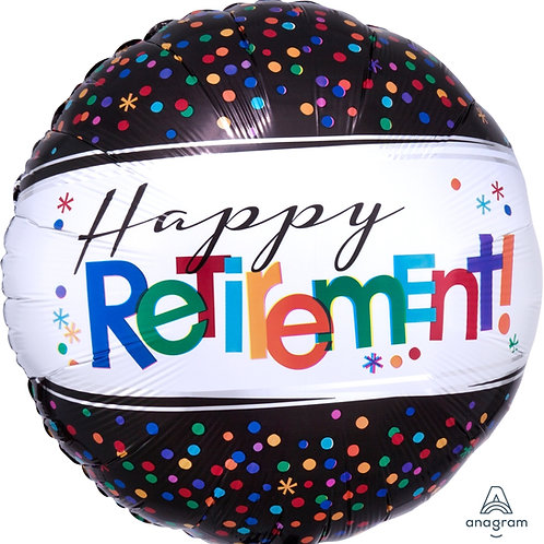 "Standard Foil Balloon ""Happy Retirement"" 18"" Helium Filled"
