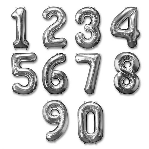 """34""""Jumbo SILVER Number (Helium Filled)"""