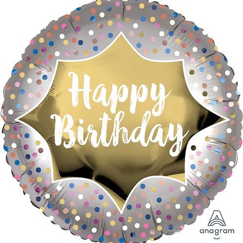 "Standard Foil Balloon ""Birthday Satin Gold Burst"" 18"" Helium Filled"