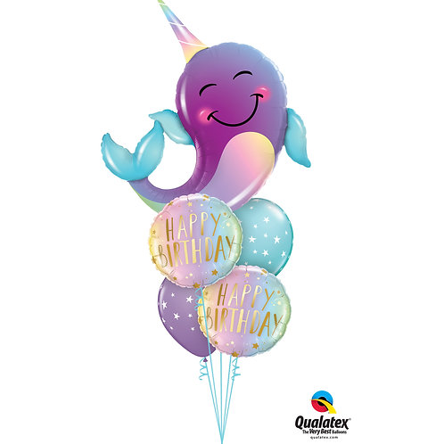 Party Narwhal Helium Birthday Bouquet