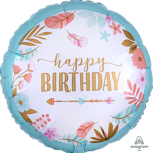 "Standard Foil Balloon ""Boho Birthday"" 18"" Helium Filled"