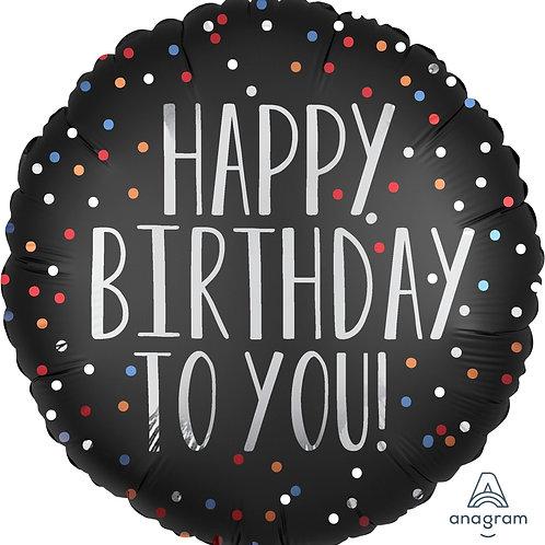 "Standard Foil Balloon ""Birthday Satin Dots"" 18"" Helium Filled"