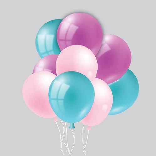 CUSTOM BOUQUET Nine (9) Helium Filled Latex Balloons