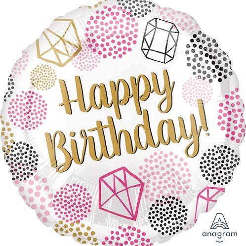 "Standard Foil Balloon ""Birthday Gems"" 18"" Helium Filled"