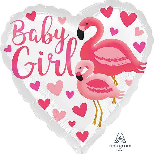"Standard Foil Balloon ""Baby Girl Flamingo"" 18"" Helium Filled"