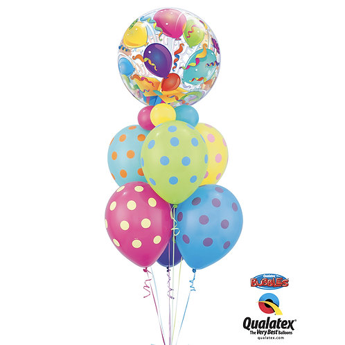 Happy Birthday Dotted Helium Bouquet with BUBBLES Ballon