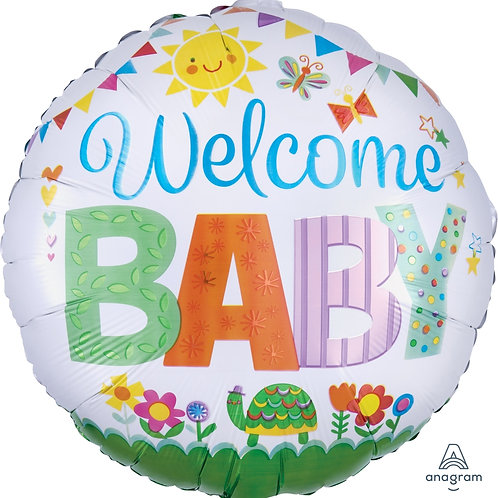 "Standard Foil Balloon ""Welcome Baby"" 18"" Helium Filled"