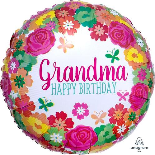 "Standard Foil Balloon ""Happy Birthday Grandma!"" 18"" Helium Filled"