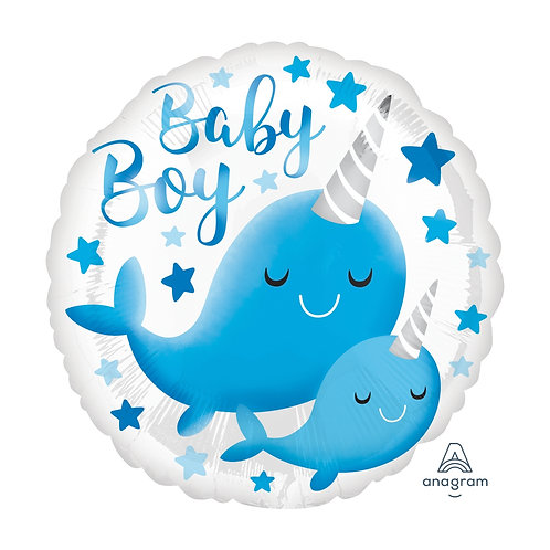 "Standard Foil Balloon ""Baby Boy Whale"" 18"" Helium Filled"