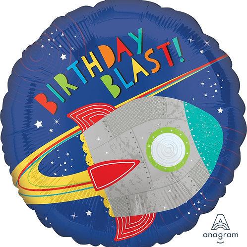 "Standard Foil Balloon ""Blast Off Birthday!"" 18"" Helium Filled"