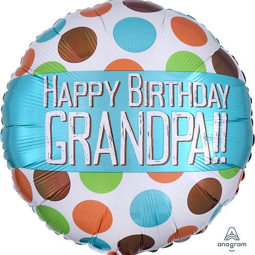 "Standard Foil Balloon ""Happy Birthday Grandpa!"" 18"" Helium Fille"