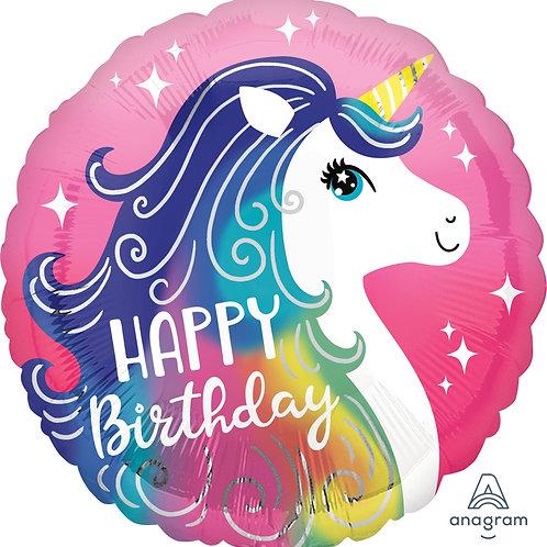 "Standard Foil Balloon ""Happy Birthday Unicorn"" 18"" Helium Filled"