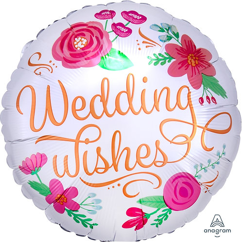"""Standard Foil Balloon """"Wedding Wishes"""" 18"""" Helium Filled"""