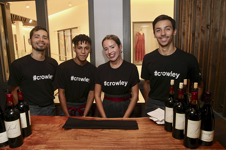 Waiters wearing tshirts with #Crowley