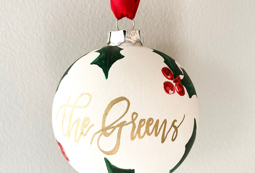 Holly Leaves Personalized Ornament
