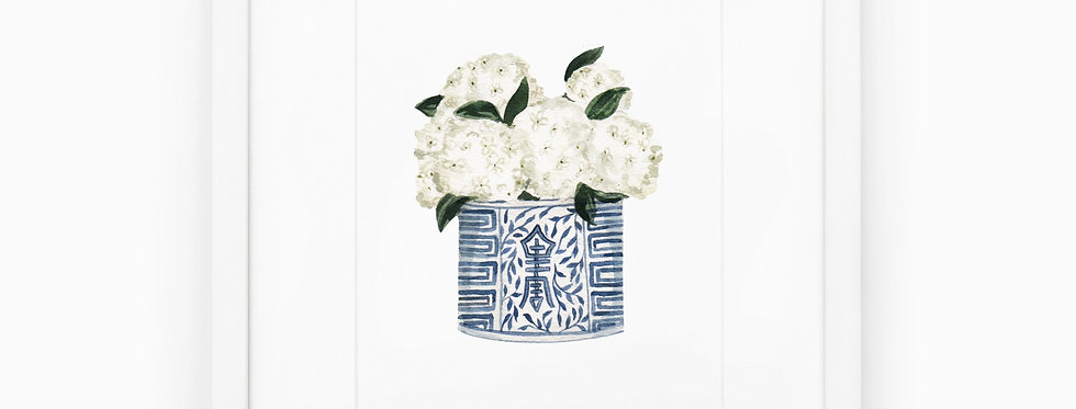 Ginger Jar with Hydrangeas Watercolor Print