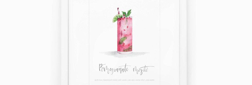 Pomegranate Mojito Watercolor Print