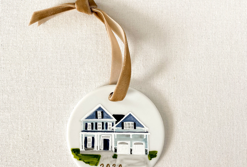 Christmas Ornament with Custom Home Painting