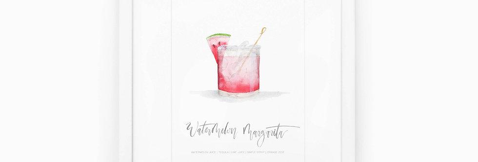 Watermelon Margarita Watercolor Print