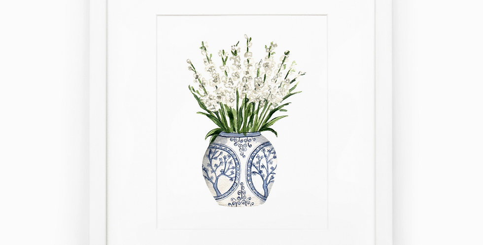 Ginger Jar with Stock Flowers Watercolor Print