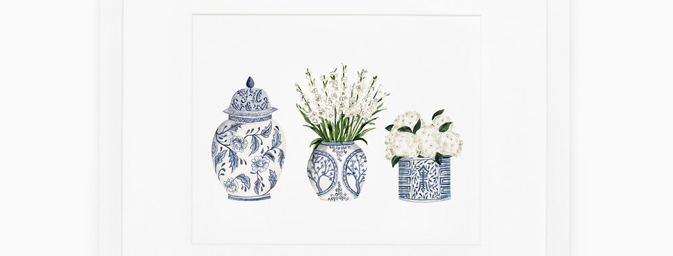 Ginger Jar Trio Watercolor Print