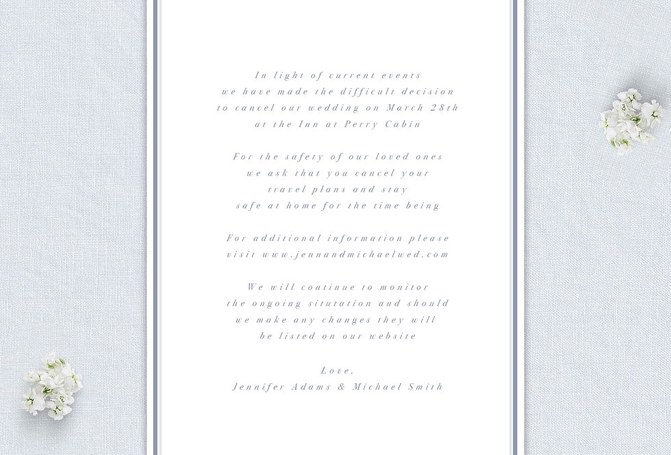 Wedding Cancellation Announcement - Printed
