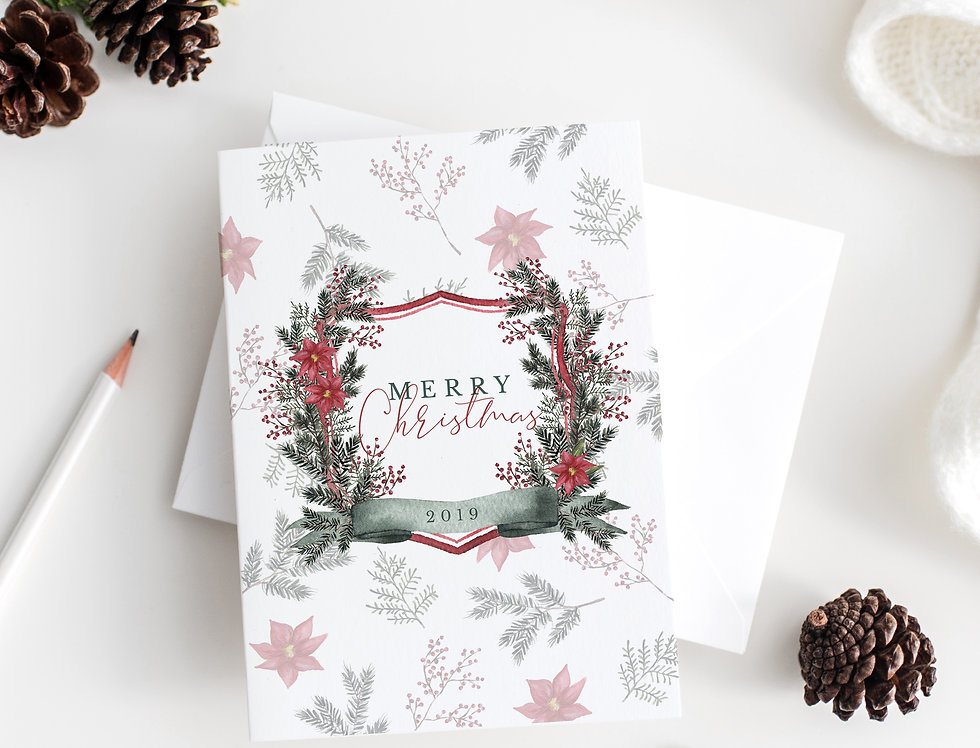 Merry Christmas crest greeting card set