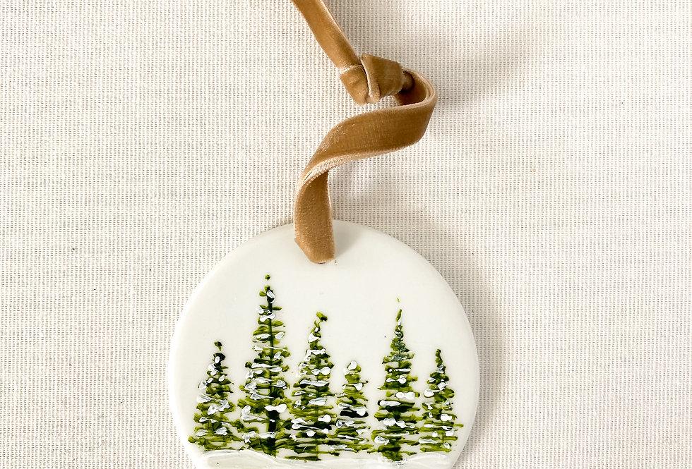 Custom Snowy Trees Ornament