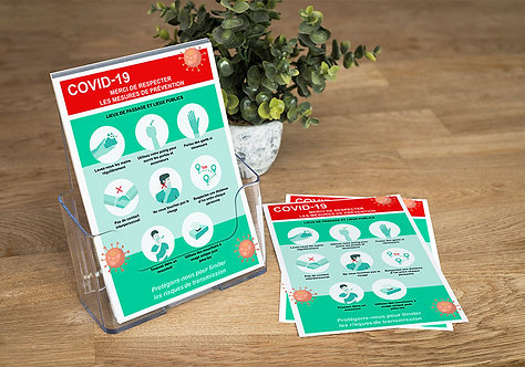 Signalétique Lutte COVID-19 : Affiches, panneaux, flyers, rollup...