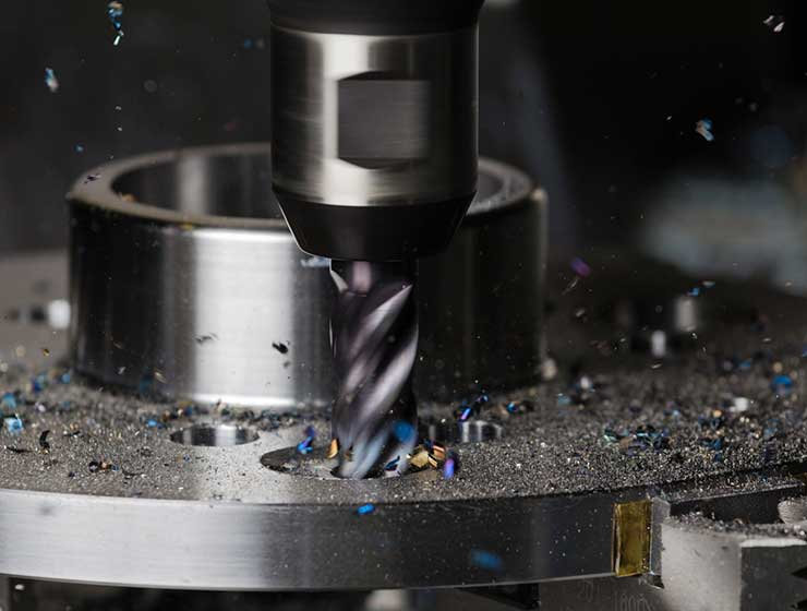 Machining a counterbore in a duplex stainless steel flange.
