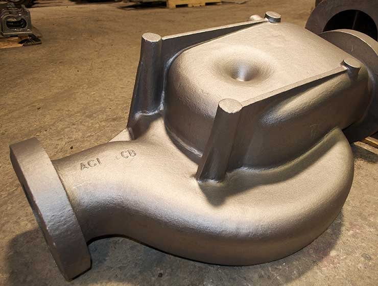 A mid-size sand casting pump casing for the oil & gas industry.